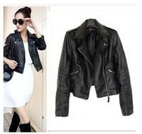 2014 New Biker Jacket Women Brand Faux Leather Jacket Women Black Jacket PU Jaquetas De Couro