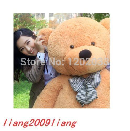 100% cotton hotsale NEW GIANT BIG PLUSH SLEEPY TEDDY BEAR light brown 200cm(China (Mainland))
