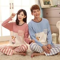 Women Men 100% Cotton Pajamas Set Fashion Stripe Cartoon Panda Casual Couples Sleepwear Costumes For Lovers Winter Home Pyjamas