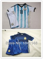 Customize!2014 World Cup Argentina kids/boy soccer jerseys(shirts+shorts) , Argentina jersey for kids, Embroidery logo