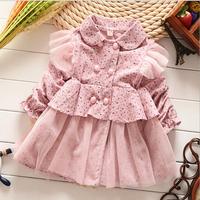 Hot Selling new arrival 2014 Korean flower long sleeve children girl princess autumn dress 4pcs/lot wholesale