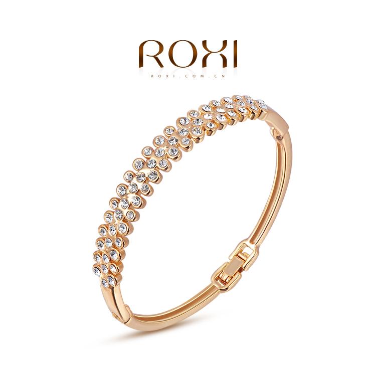 ROXI luxury 18K rose Gold plated intensive mosaic bangle fashion Austrian crystal jewelry Christmas gift,High quality(China (Mainland))