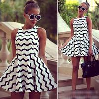 FanShou Free Shipping 2014 Women Dress Sleeveless Casual Dress High Waist Striped Dress Lady European Fashion Evening Dress 4774