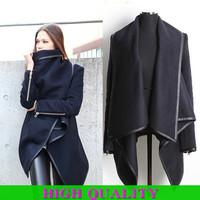 European Fashion 2014 Women Winter Coat Women Brand Wool Coat Long Sleeve With Zipper Turn-down Collar Desigual Coats Plus Size
