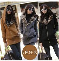 2014 Women Hoodies Sweatshirts Fashion Autumn Winter Kawaii Hoddy Leopard Jacket Coat Warm Sweater Outerwear Sale on line