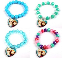 New Stock Frozen Bracelet 12pcs/lot Elsa Anna Heart Shape Charm Stretch Bracelet Wholesale Free Shipping Hot Selling Frozen