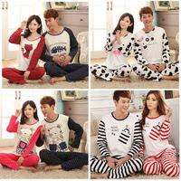 Modal Pajamas Set For Men Women Sleep Fashion Dots Cartoon Casual Nightwear Couples Sleepwear For Lovers Winter Autumn Pyjamas
