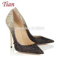2015 New Collection women shinng glitters gradient stiletto high heel pump ladies dress shoes bride wedding shoes