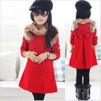 High quality double buttons Korean fashion long children woolen jackets for girls kids winter coat free shipping