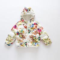 2014 winter hot sale brand design children girl parrot flower hooded cotton-padded coats warm jacket