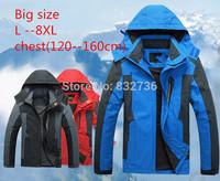 Big size 8XL 7XL 6XL 5XL Winter men outdoors Brand waterproof windproof jacket thermal jackets/coat 4XL 3XL Free shipping