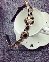 2014 Retro Palace styles baroque metal flowers wide hairbands black gems headband fashion female hair accessories jewelry x332