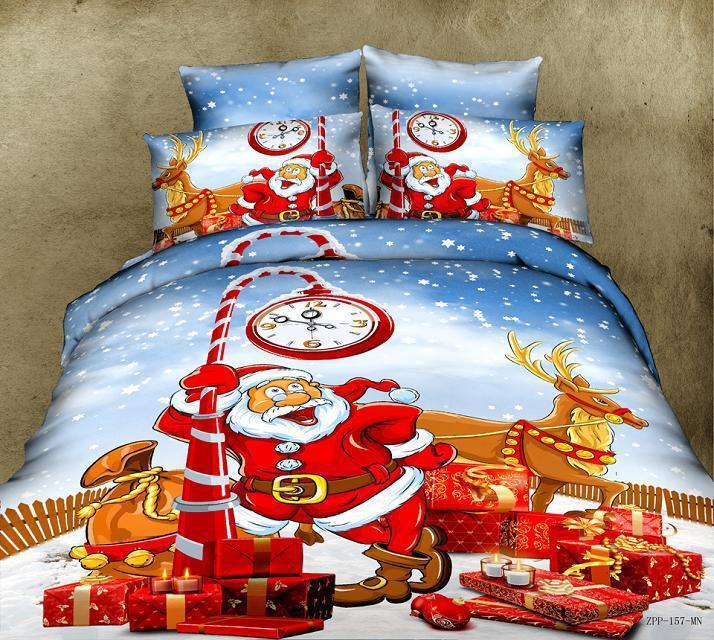 Christmas bedding comforter set santa claus queen size cartoon duvet
