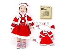 Hot sale baby clothes fashion dress + cloak + hat 3 piece set girls clothing Christmas sets