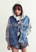 Vintage 2014 Korean New Women Military Denim Varsity Uniform Hooded Patchwork Loose Jeans Baseball Jacket,Sportwear S-L #3066