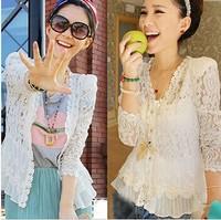 clean stock, shoulder pad precious lace shirt cardigan sunscreen shirt air-conditioning
