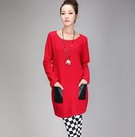 free shipping ! female solid long sleeve tees girl's big PU pockets long T shirt women's oversize fall clothing 4XL