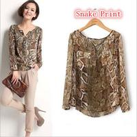 2015 new items spring autumn womens shirts*Lady Chic Snake Print Women Chiffon Blouse Tops Shirt Casual Long Sleeve blusa W00387