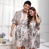 Fashion Silk Nightgown Robe Sets Fashion Casual Short Nigthwear Pajamas Autumn Couples Sleepwear Costumes For Women Men Lovers
