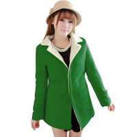 Good Look Fitness Solid Color Pockets Winter Coat Women 2014 Hot Sale Turn-down Collar Green Casacos Femininos 5538