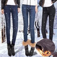 2014 New Fashion Autumn and Winter Mink Velvet Denim Trousers Plus Velvet Thickening Female Mid waist Pencil Pants