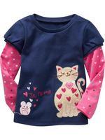 Wholesale blue spring autumn cotton t shirt girl basic long sleeve t shirt 6pcs/Lot Free shipping