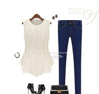 Free shipping!2014 summer new Korean lace shirt bottoming shirt sleeveless blouse doll chiffon shirt Women