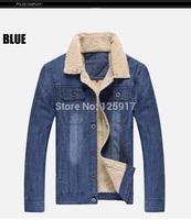 Winter New Arrival Lamb Wool Collar Denim Jacket Thicken Warm Winter Denim Jacket Plus Size Men Blue Denim Jackets