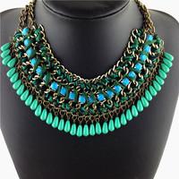 Colorful Multi Layer Woven Jewelry Acrylic Statement Pendants Necklaces Fashion Choker Collar Women Necklaces & Pendants Chain
