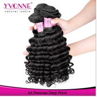 Grade 6A Unprocessed Virgin Peruvian Hair,3Pcs/lot Deep Wave Human Hair Weave,Aliexpress Yvonne Hair,Natural Color 1B