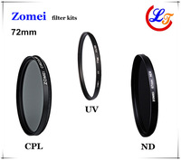 Free Shipping Professional Zomei 72mm UV CPL ND Filter Kit with Germany Schott Glass Filtro Protector Lens for Canon Sony Camera