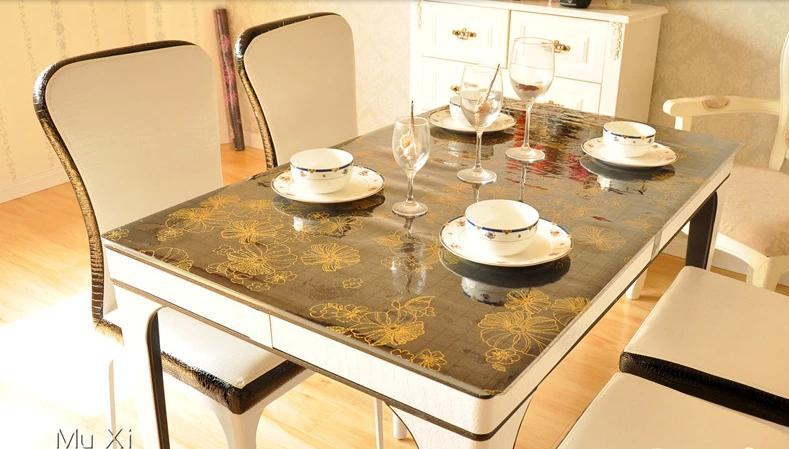 PVC waterproof and oilproof soft glass frosted temperature resistant table cloth gold flower(China (Mainland))