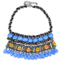 highly quality 2014 bohemia style tassel geometric stones weave necklace for women