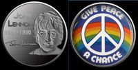 2015 new design arrival,Free shipping 100pcs/lot John Lennon 1940-1980 silver plated peace silver replica coin