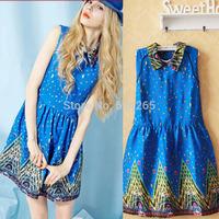 2014 Autumn New Women Dress Geometric Printing Peter Pan Collar Casual Dress Free Size Drop Shipping