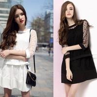 2014 Women Dress 2 pcs Lace Outwear Coat and  Chiffion Inner Dress  Korean Style Hip Fashion Dress