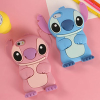 "Cartoon Stich Silicon Case 3D Cute Soft Silicone Cover For iphone 6 Cases 4.7"" Lilo Stitch Housing For iPhone 6 Free Shipping"