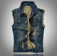 Korean Slim Style Men Denim Vest Hole Brushed Tassels Fashion Man's Denim Vest Sleeveless Denim Jacket Vest 813