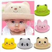 Free shipping 4pcs/lot 2014 new summer children cartoon animal cap summer straw hat baby kids boy girl cartoon sun beach hat