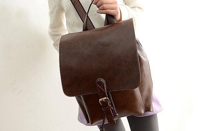 hot 2014 brand new fashion girls student korean softback hasp pu leather brown&black shoulder bag rucksack vintage backpack (China (Mainland))