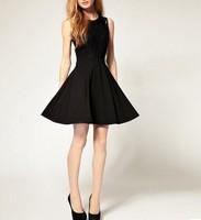 Fashion Womens Elegant Lace Sleeveless Tank Pleated Dress Sundress Black S-XXL [3 71-3110]