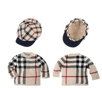 2014 NEW Retail Baby Clothing Plaid Long Sleeves Minecraft T shirt+Hat Kids t shirt top tee Roupa Infantil Boys Clothes