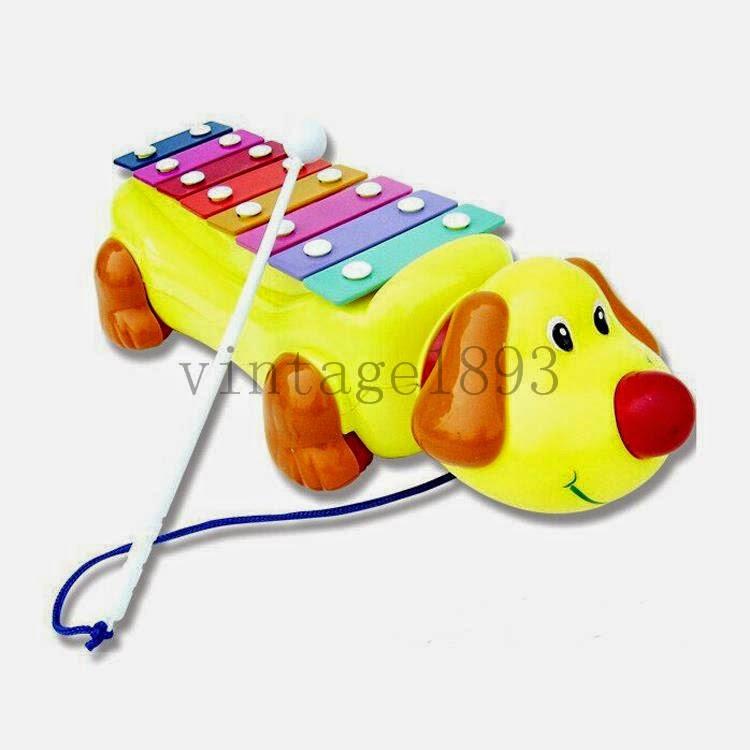 Puppy Drag Piano Music Toy Toddler Dog Type Musical Instrument Intelligence Kid(China (Mainland))