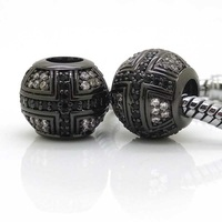 New Black Cross Beads Micro Pave Cubic Zirconia European Beads Charm Fit Pandora & Chamilia Charms European Bracelets