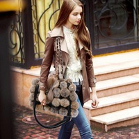 Hot-selling  2014 winter new women's handbag rabbit fur ball women's handbag shoulder bag