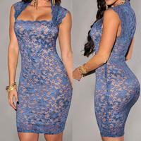 Women Summer Dress For Party Short Blue Floral Sexy Slim Lace Halter Plus Size Club Dresses