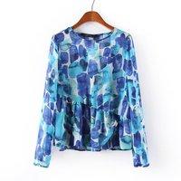Women's clothing collar is irregular blue big Bob some joker long-sleeved shirt