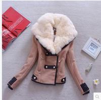 2014 Winter Women's New England style woolen coat fur collar oblique zipper large Korean version of Slim woolen suit YHP194 R1P