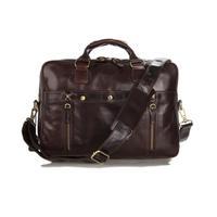 2014 new men's leather business bag 100% genuine leather vintage handbag brown designer handbags high quality