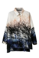 Women New Fashion 2014 Summer Spring European Style Brand Tree Blouses Landscape Printed Blouse